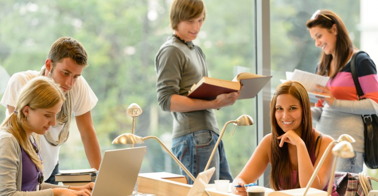 High-school students learning in study teens young